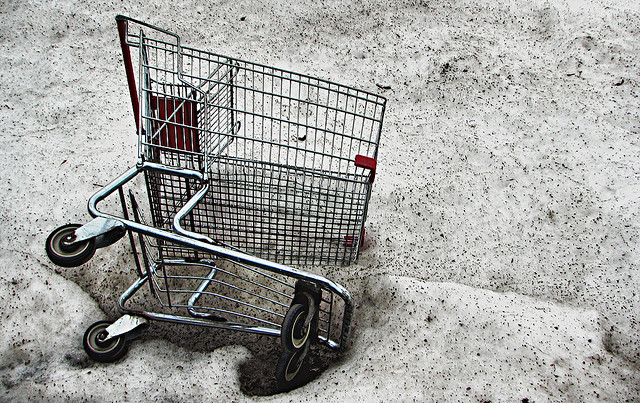 shopping cart snow